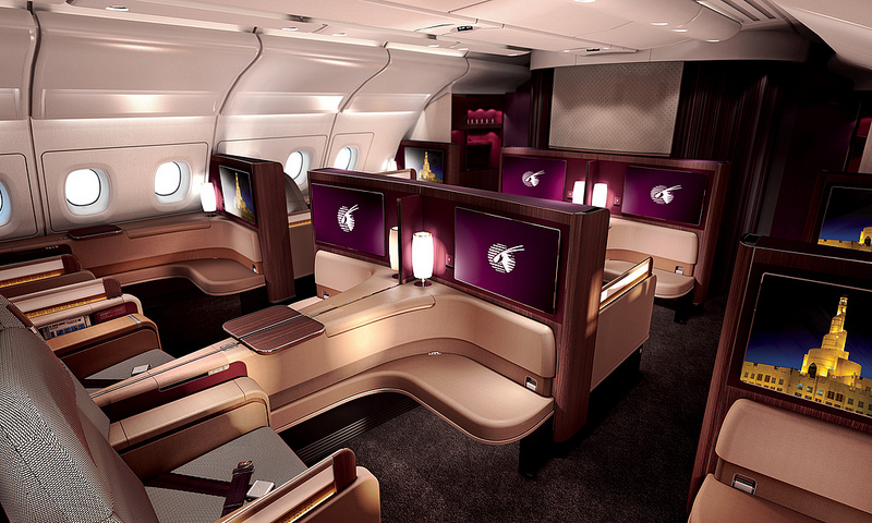 The interior of the First Class A380 cabin.