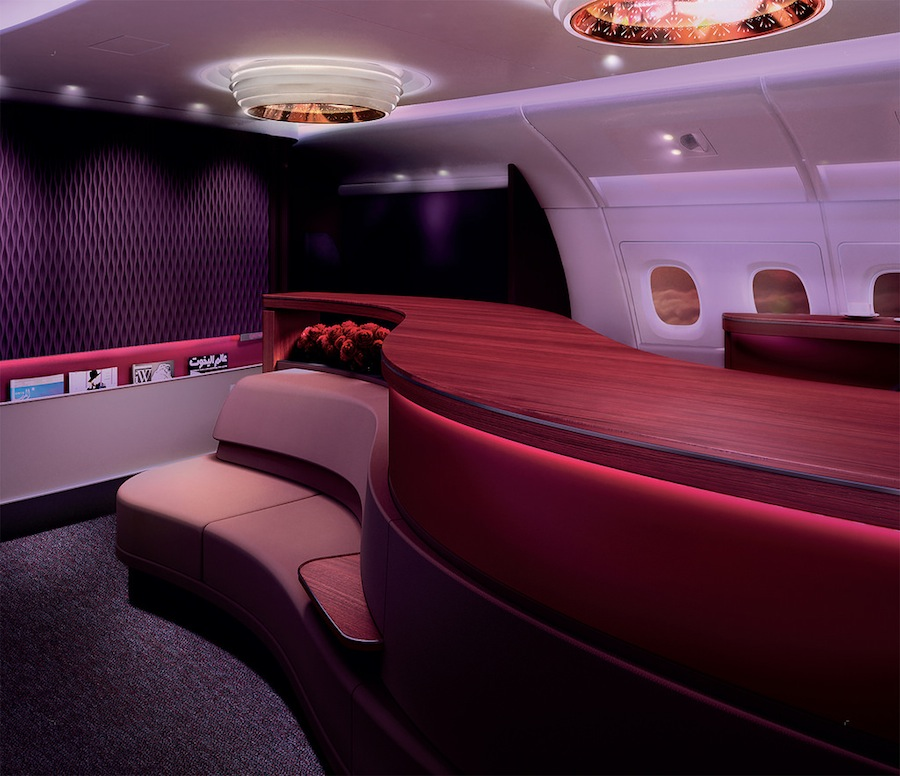 The lounge aboard Qatar's A380.