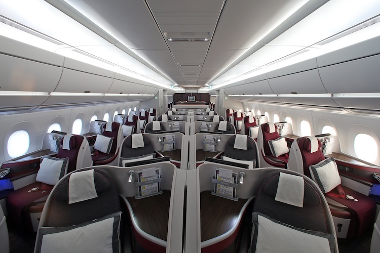 Thirty-six business-class seats are arranged in a 1-2-1 configuration.