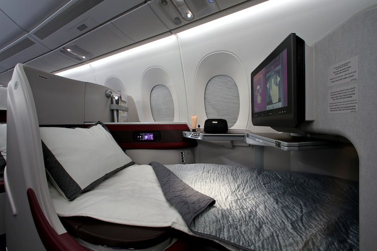 All seats in business class have a 17-inch high-definition screen with the carrier's Oryx entertainment system.