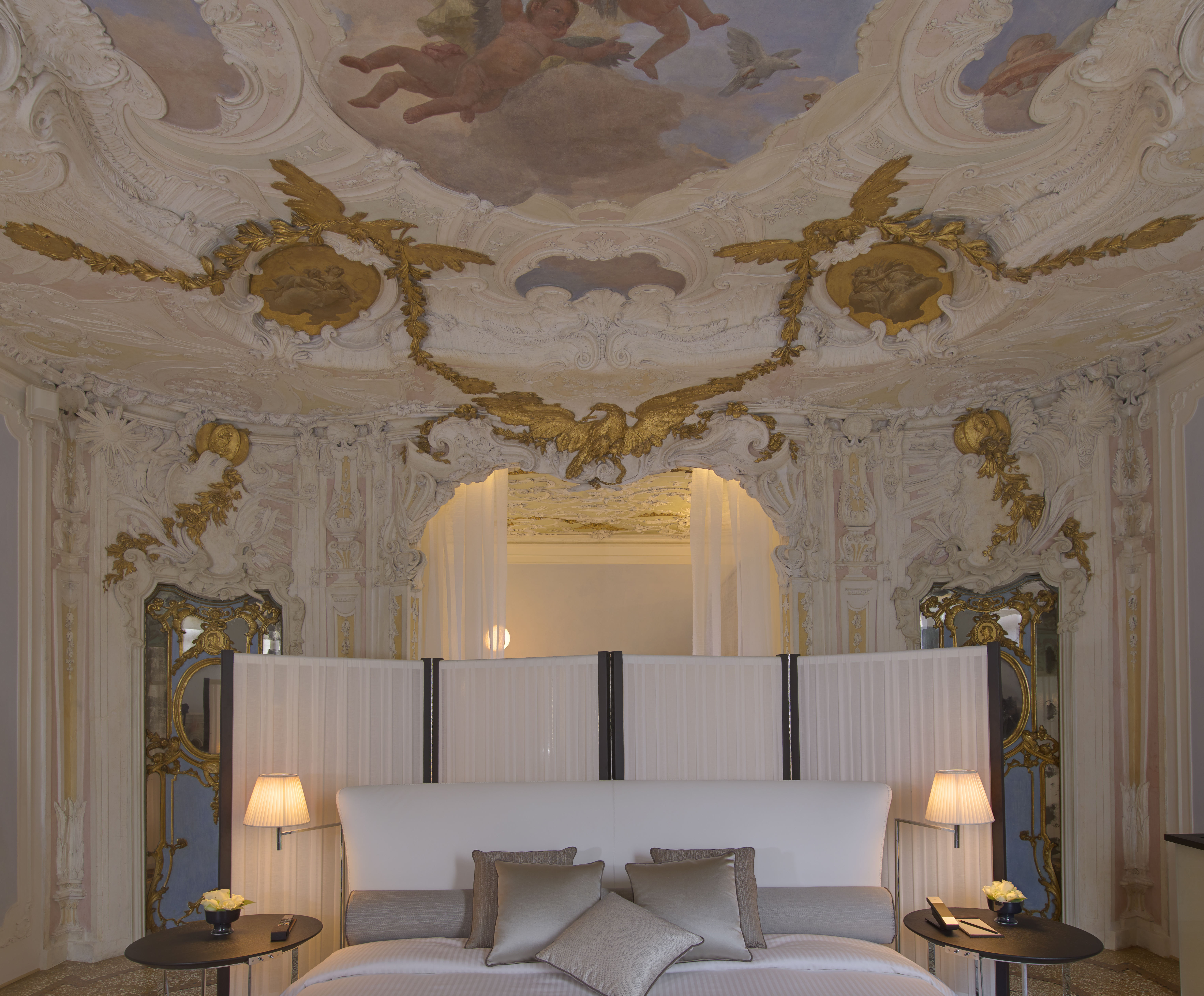 The alcove of the Tiepolo bedroom at the Aman Venice.