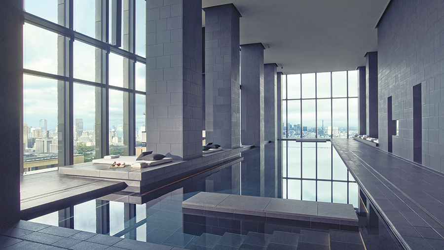 The hotel's swimming pool with city views.