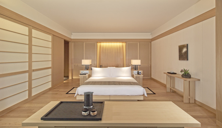 A suite bedroom designed with Japanese touches.