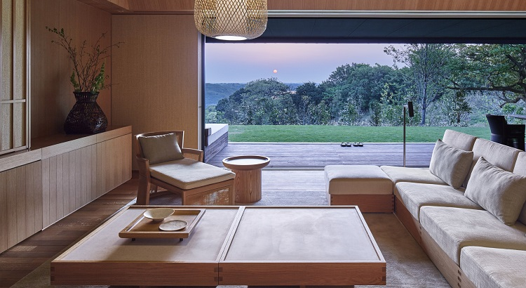 The living room at Amanemu's villas come with a view.