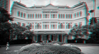 A 3D shot of the Raffles Hotel Singapore.