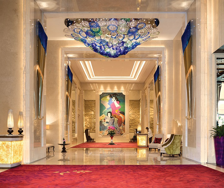 The art-filled lobby at Raffles.