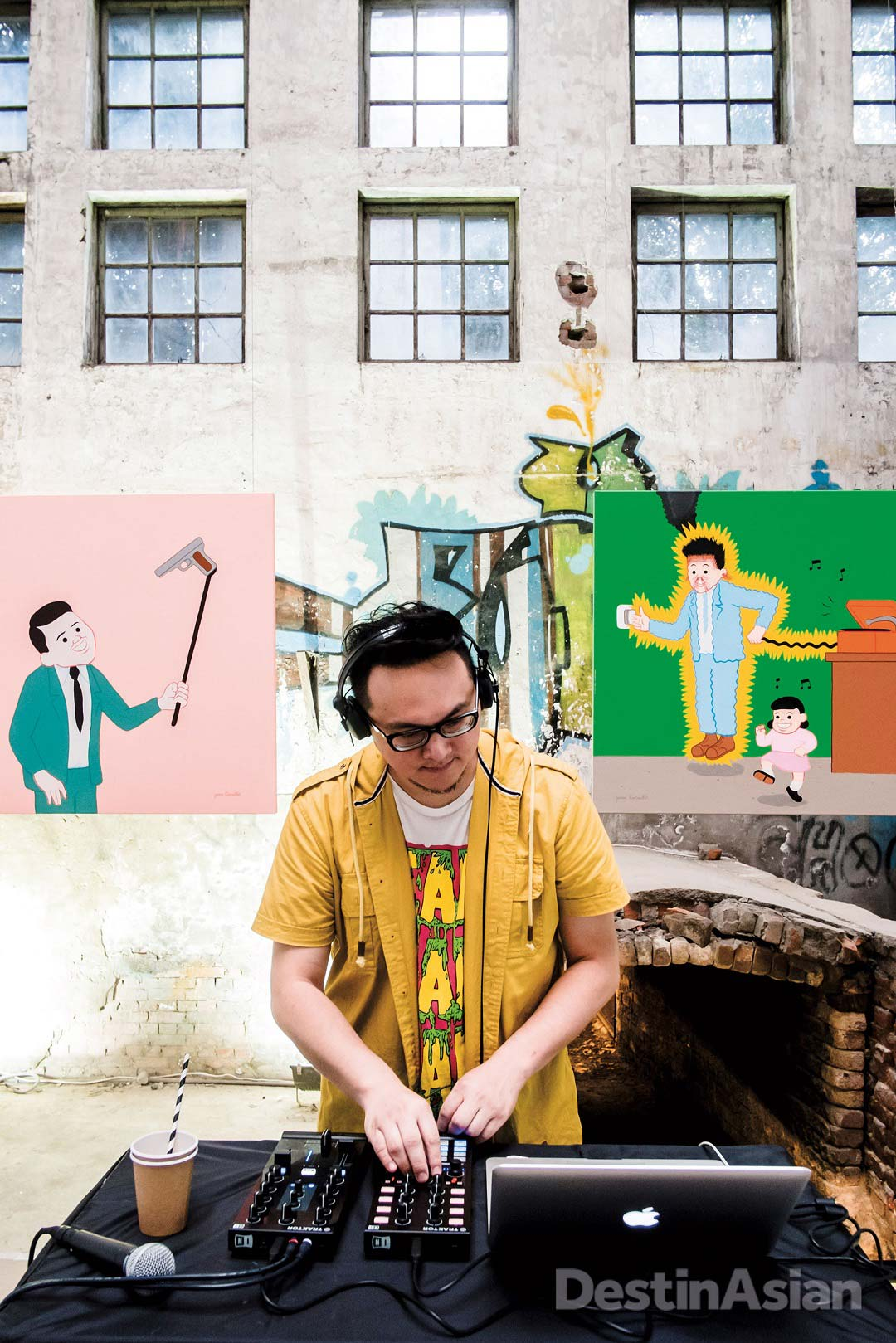 A DJ at the opening of an exhibition by Spanish cartoonist Joan Cornellà at Huashan 1914 Creative Park.
