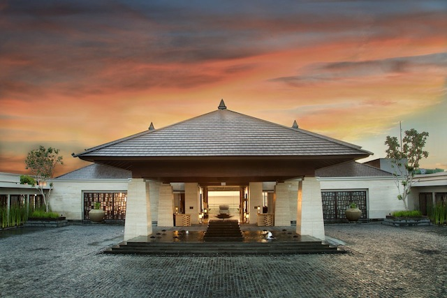 The resort's entrance at twilight.
