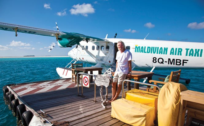 Sir Richard Branson at Soneva Fushi's jetty.
