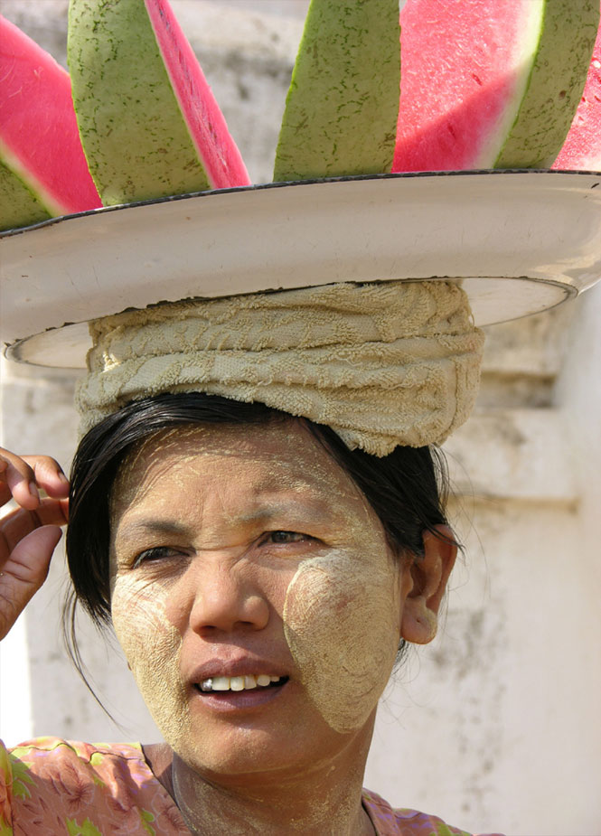 Watermelon lady, Myanmar.