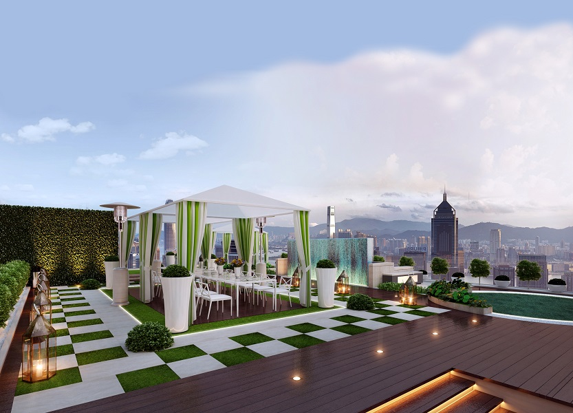 The new rooftop garden comprises 356 square meters of alfresco event space.