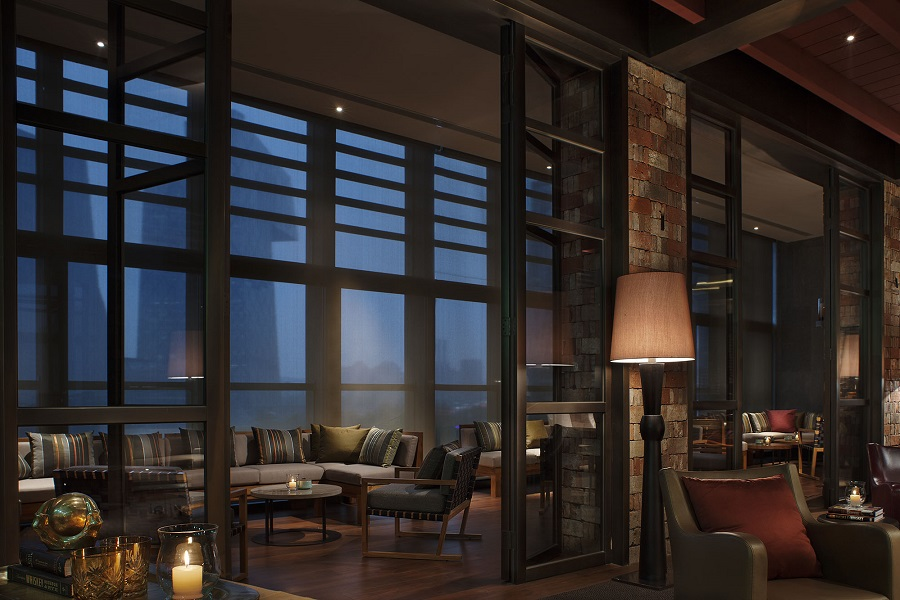 A view of the city complements MEI's elegant interiors.