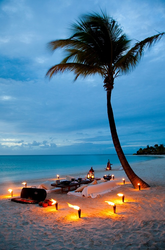 A Bespoke Dining meal at Rosewood Jumby Bay in the West Indies.
