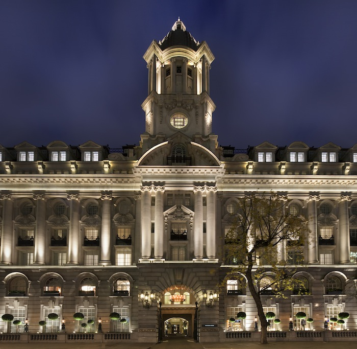 The stately hotel by night.