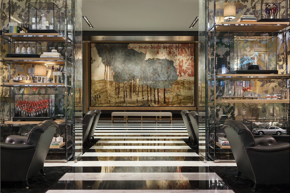 The art-infused lobby of the Rosewood.