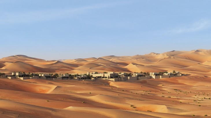 The exclusive enclave of just 10 pool villas is set amid ocher dunes in southern Abu Dhabi.