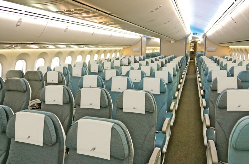 The economy cabin of the Royal Brunei Dreamliner.