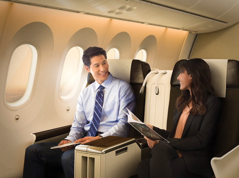 Business class seating in the new aircraft.