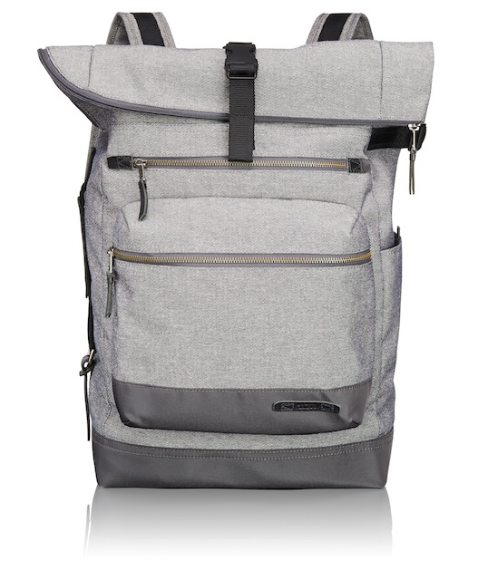 The Ridley Roll Top Backpack features a large top-zip main entry compartment with exterior back access.