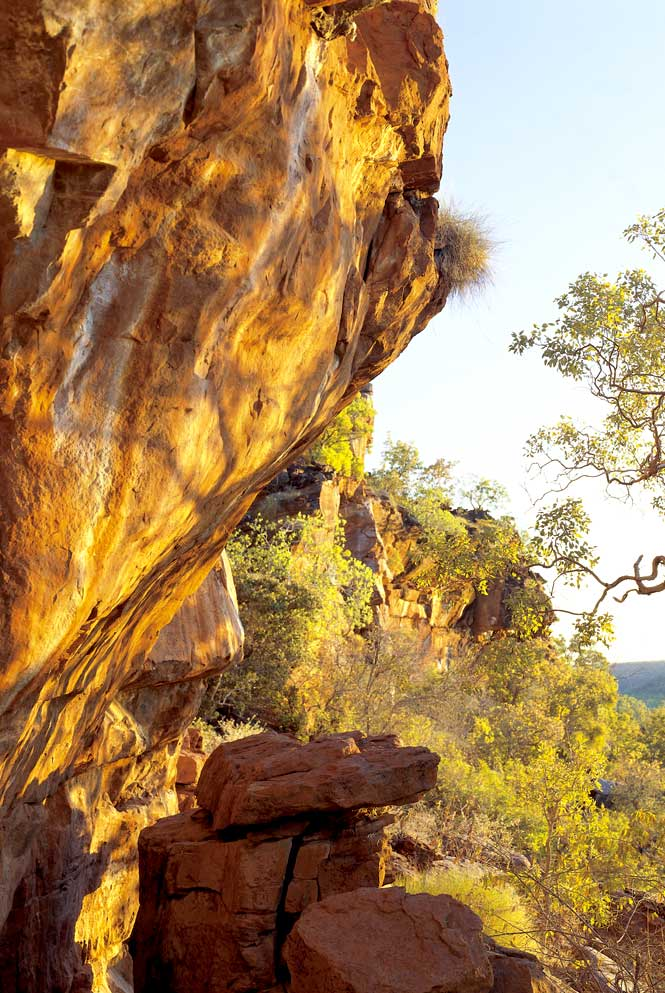 Aboriginal rock art dating back thousands of years can be found all over Bullo, as at this escarpment just off the ranch's main drive.