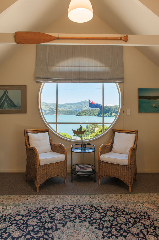 The nautically themed boathouse suite at maison de la mer in akaroa.