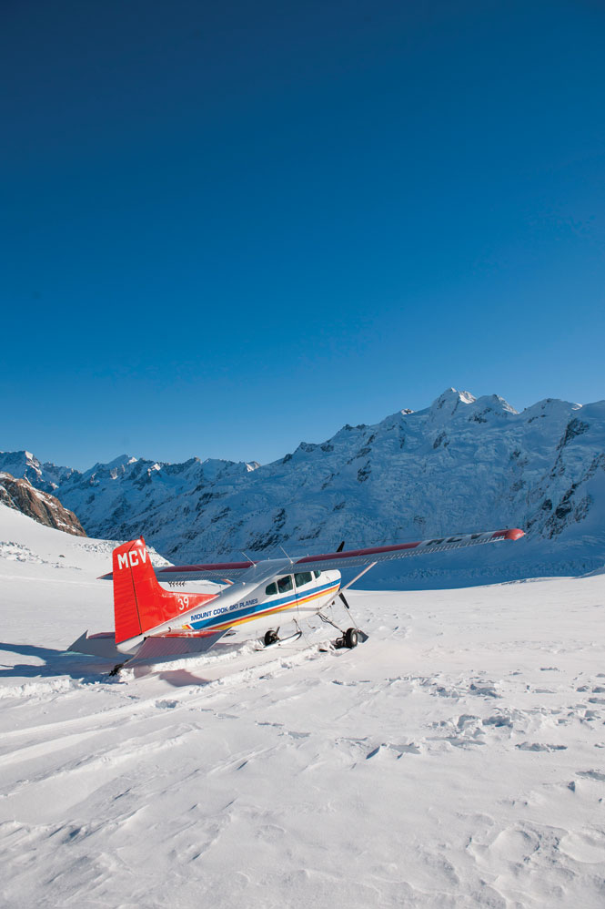 On the tasman glacier with mount Cook ski planes.