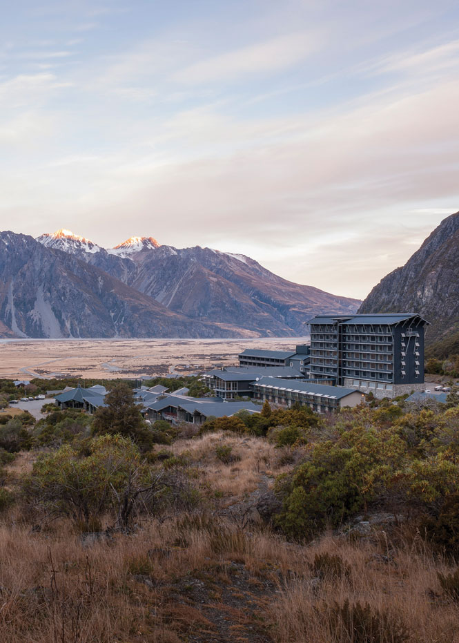Situated amid the alpine splendor of Aoraki Mount Cook National Park, The Hermitage overlooks glacial valleys and the snow-capped peaks of the Southern Alps.