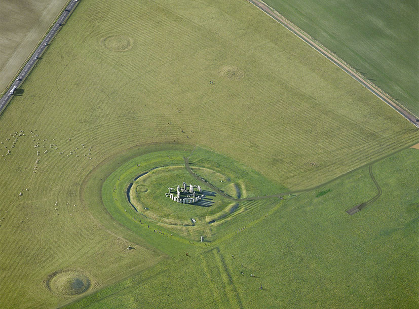 An aerial view of Stonehenge.