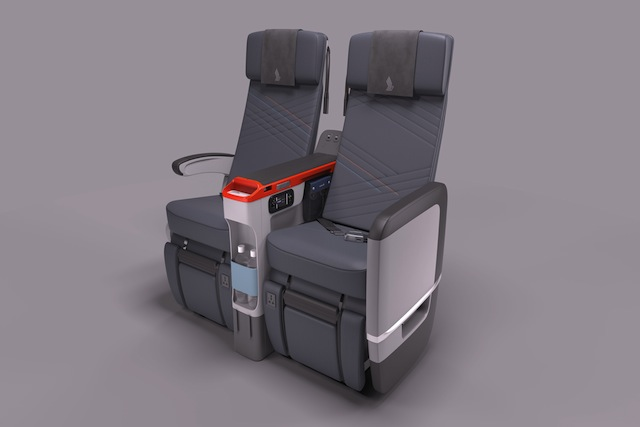The width of each Premium Economy seat ranges between 47 to 50 centimeters wide.