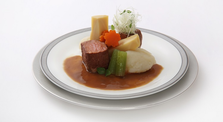 Sousvide miso simmered beef Yamato-style with nimono vegetables and potato.