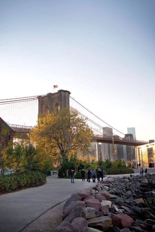 Lower Manhattan looms beyond Dumbo's Brooklyn Bridge Park.