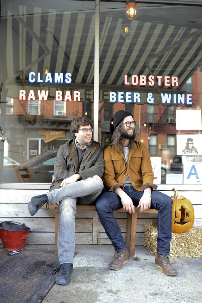 Brooklyn hipsters congregate outside Littleneck restaurant.