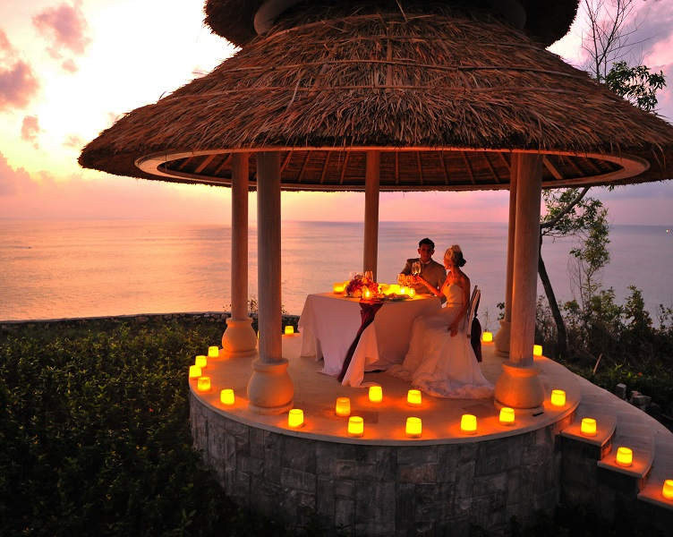 A special dining pavilion for the bride and groom overlooks the bay.