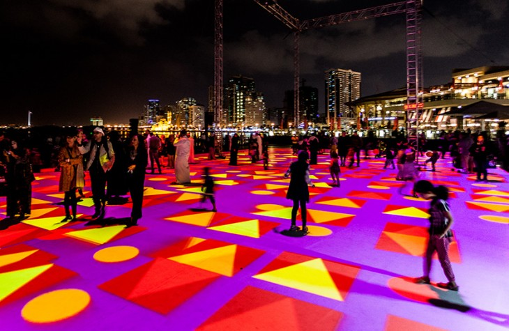 The 'Pixel Wave 2015' light display by digital artist Miguel Chevalier.
