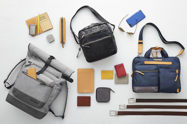 From left: the Ridley Roll Top Backpack, the Amhurst Crossbody, and the Acer Slim Zip Brief.