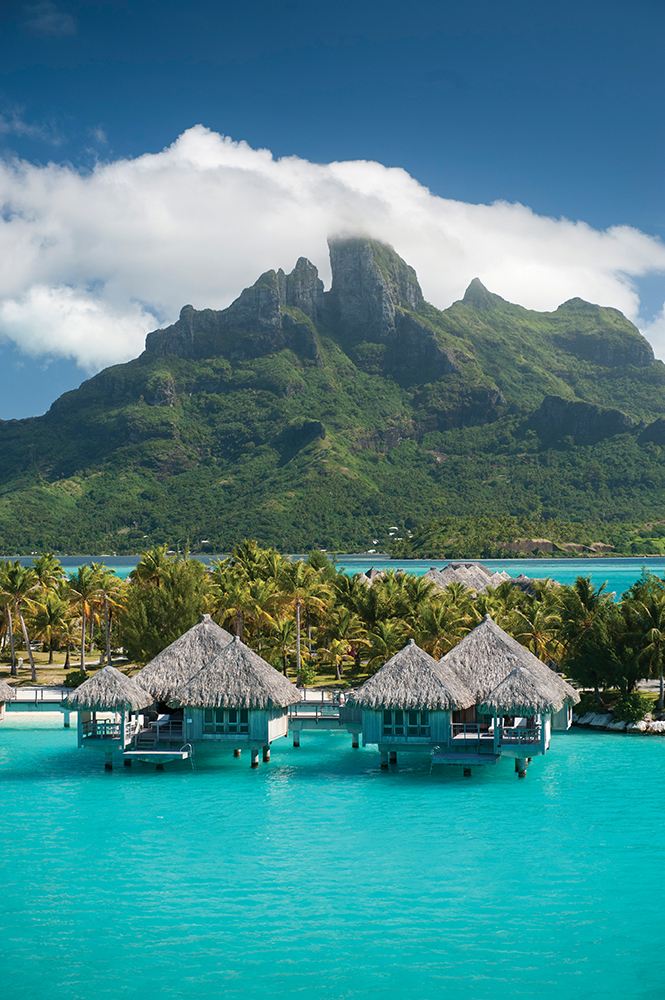 Villas staked over cerulean waters at the St. Regis Bora Bora.