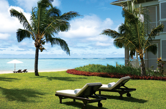 A view of the mile-long beach at St. Regis on Mauritius' Le Morne Peninsular.