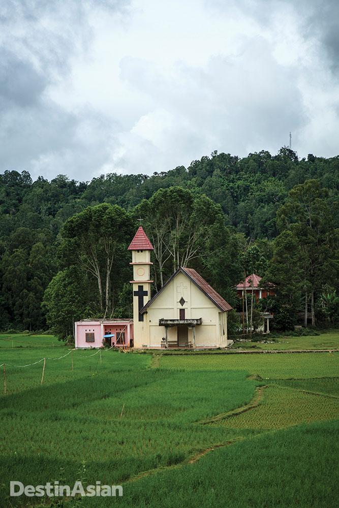 A church amid the paddy fields of Sa'dan.