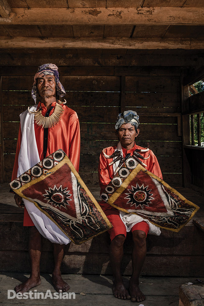 In Rantepao, performers ready for a Ma'randing war dance, traditionally performed on the second day of funerals.