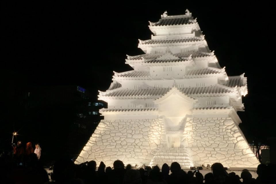A temple made of ice at the Sapporo Snow Festival.