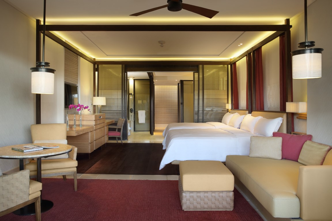 The Sawangan Suites feature oversized stone bathrooms with 20-inch TVs.