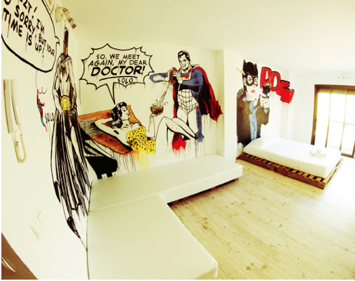 Super heros and cartoons frequent the space.