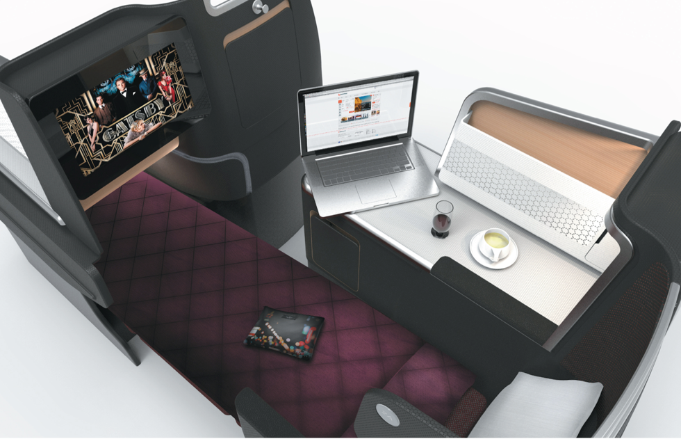 The fully reclining business class suite.