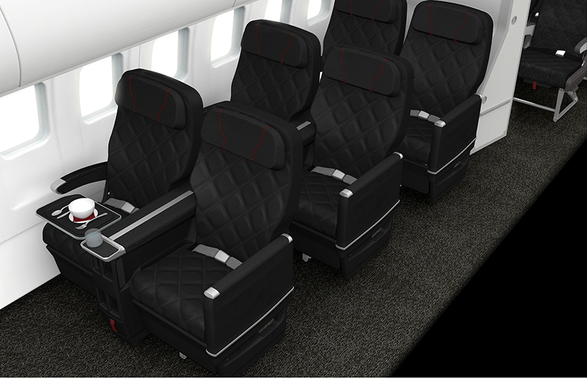 The new business cabin interior on QantasLink.