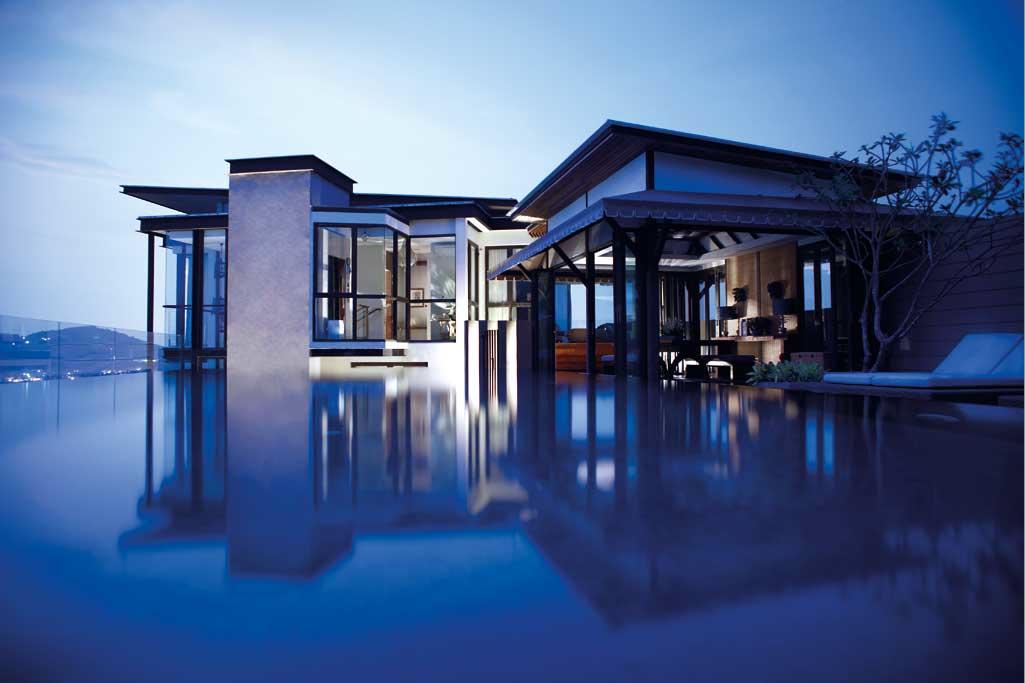 The villa's glass clad exterior.