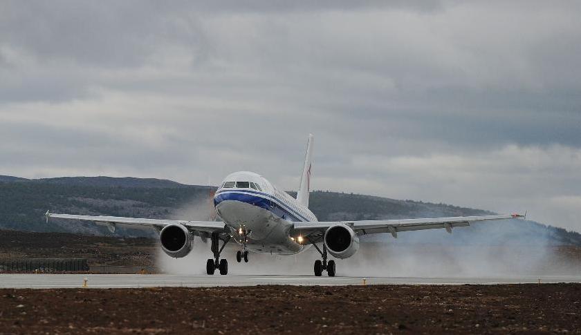 An Air China plane lands at Daocheng Yading Airport.