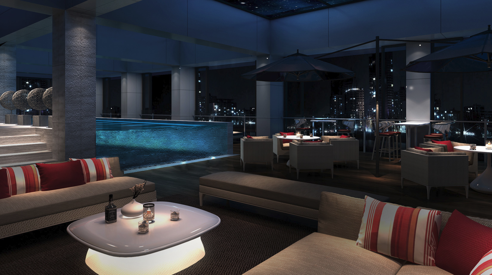 The hotel's sparkly swimming pool that's adjacent to the spa is located on the 11th floor.