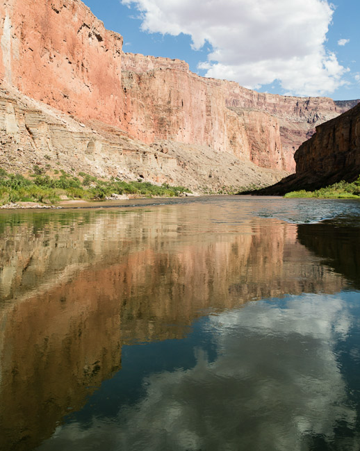 The view downriver from Nankoweap Canyon, at river kilometer 85.