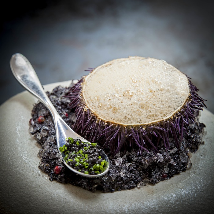 Sea urchin & crab bisque with Caviar is part of the Sea category of the new menu.