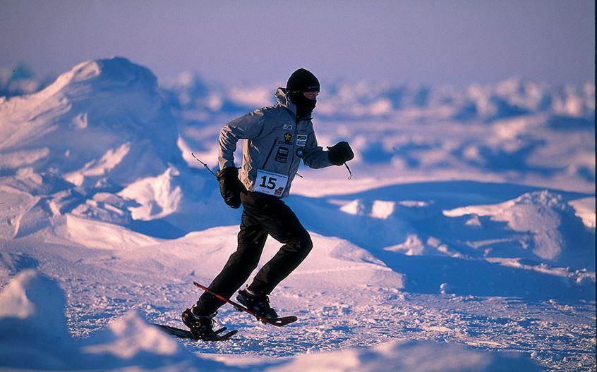 Competitor Sean Burch attempting to conquer the North Pole Marathon.